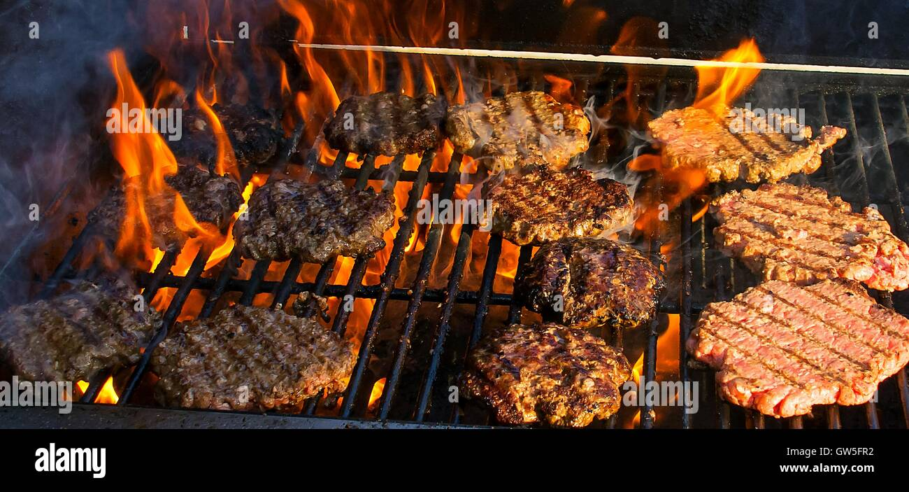 bbq fire grill summer hamburgers charbroiled flame picnic