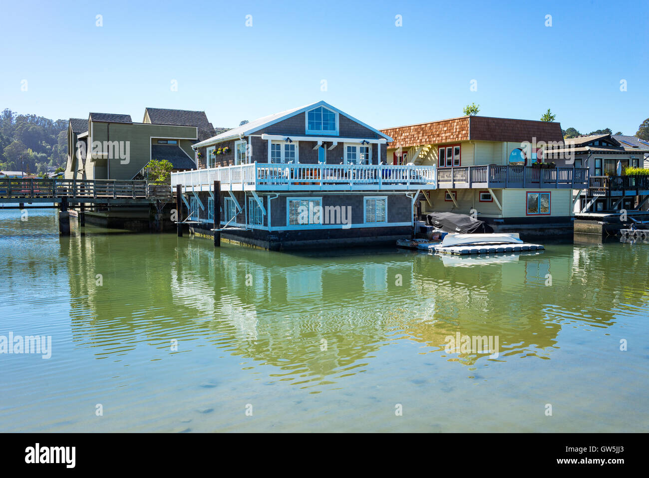 Sausalito, USA - September 23, 2015: The colorfully painted House Boats in the outskirts of the country Stock Photo