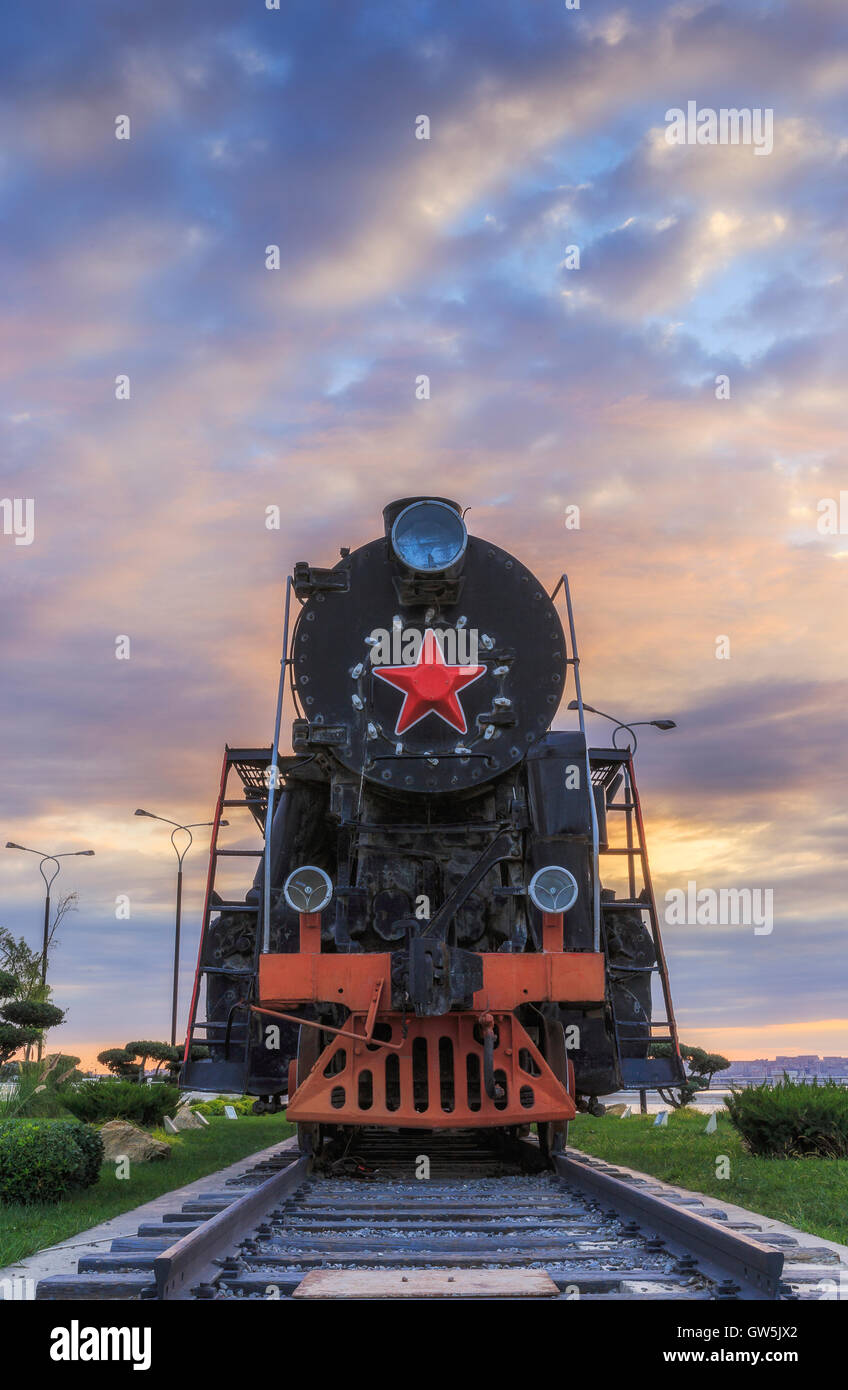 Old Soviet locomotive on the boulevard in Baku.Azerbaijan Stock Photo