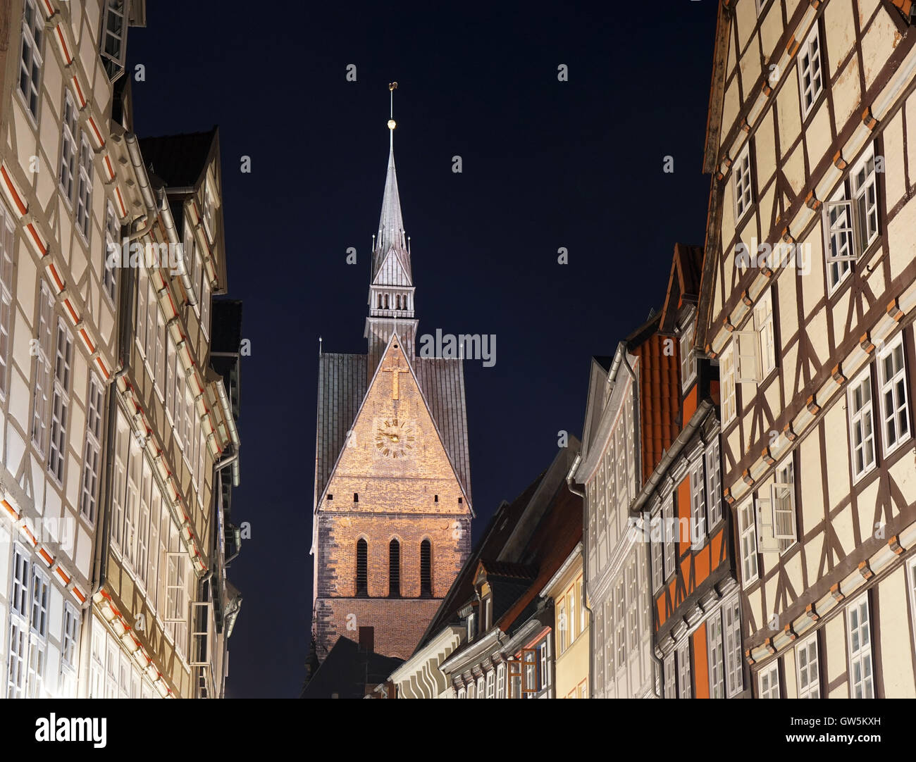 old town with market church in Hannover Germany - Stock Image