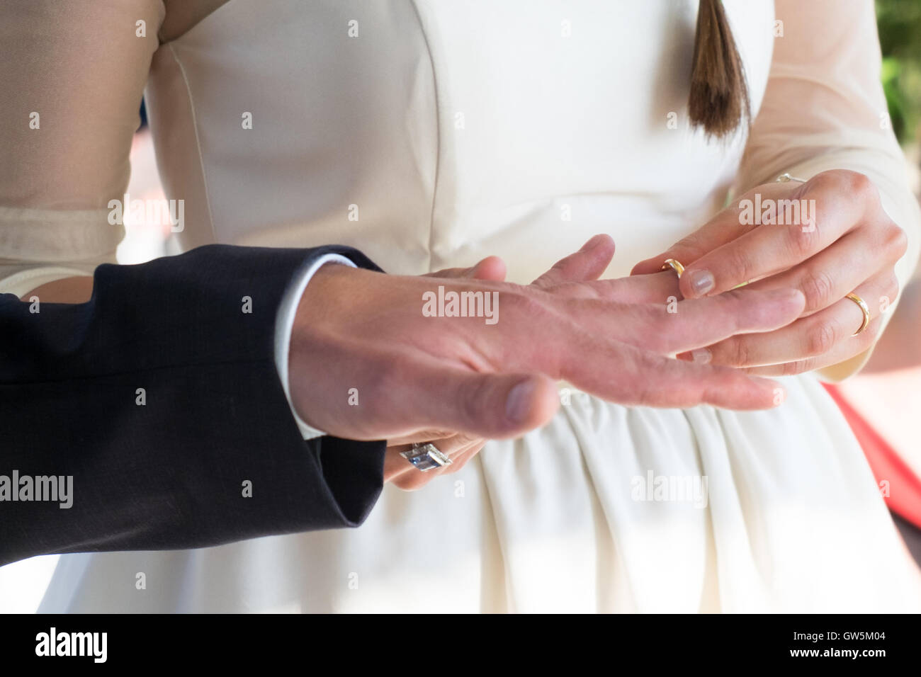 Wedding Ring Exchange By The Bride Main Focus On The Woman Hand