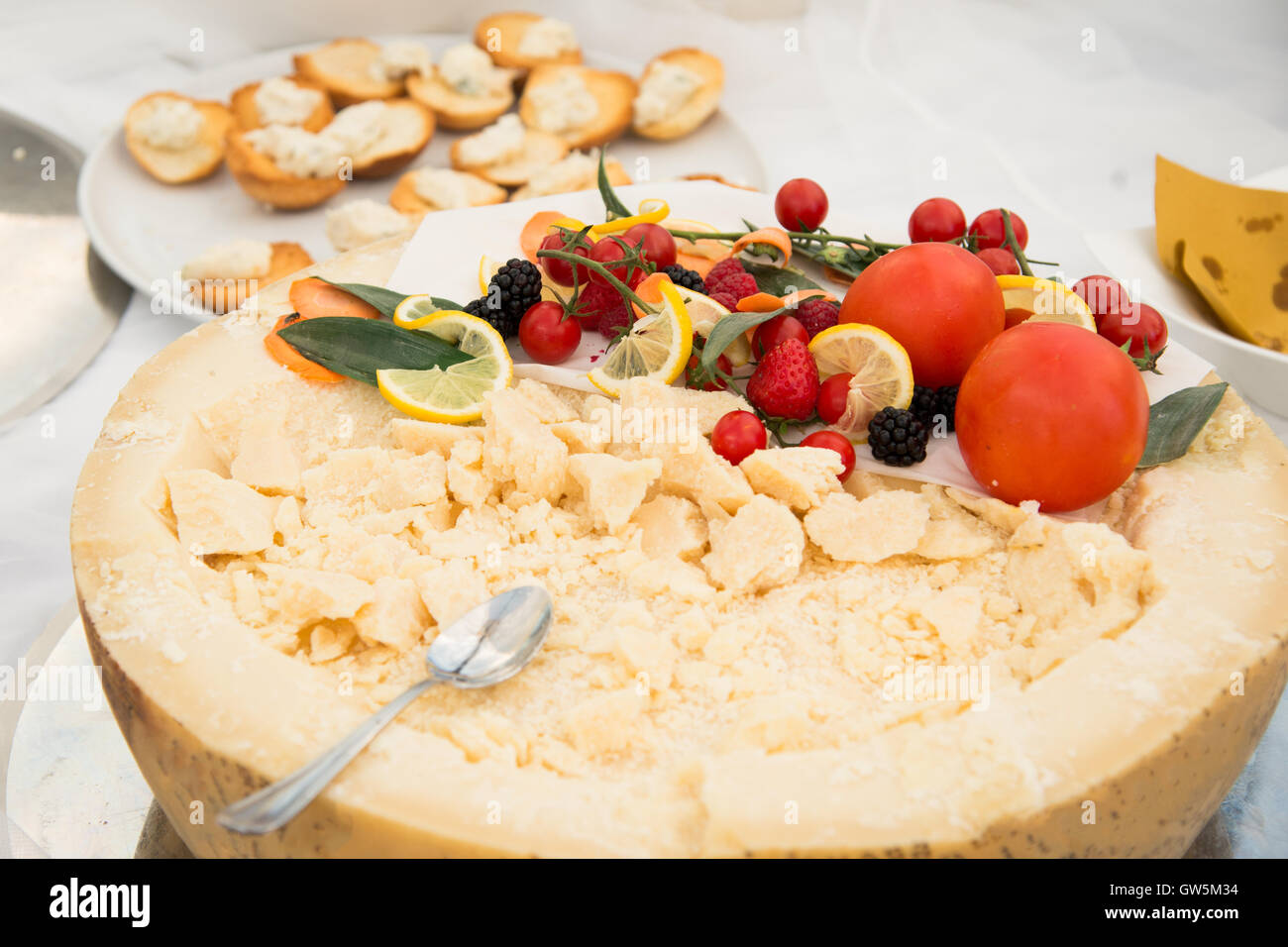 Food on a dish served during a buffet catering party - Stock Image