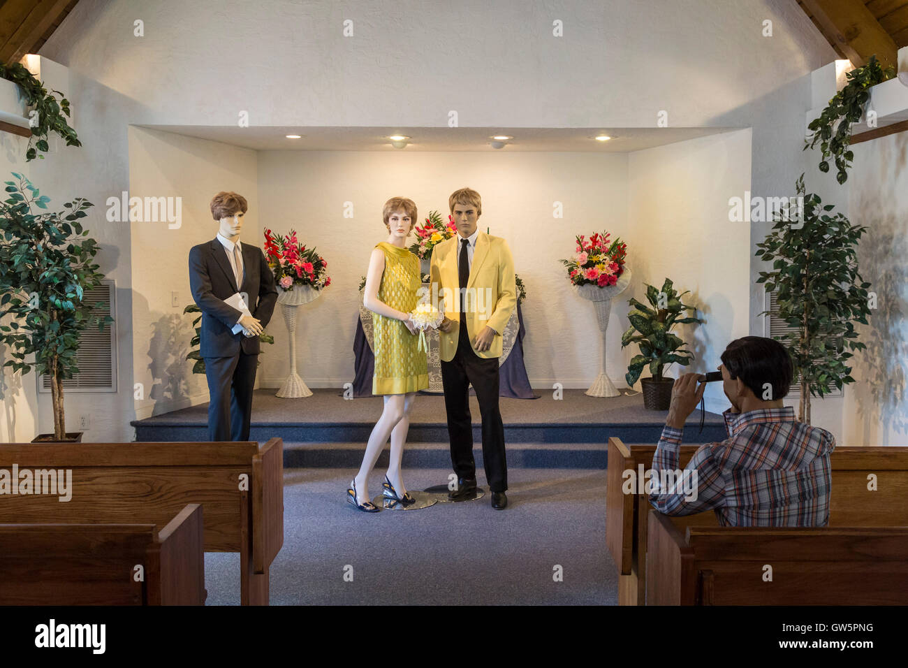 Las Vegas, Nevada - The Candlelight Wedding Chapel at the Clark County Museum. - Stock Image