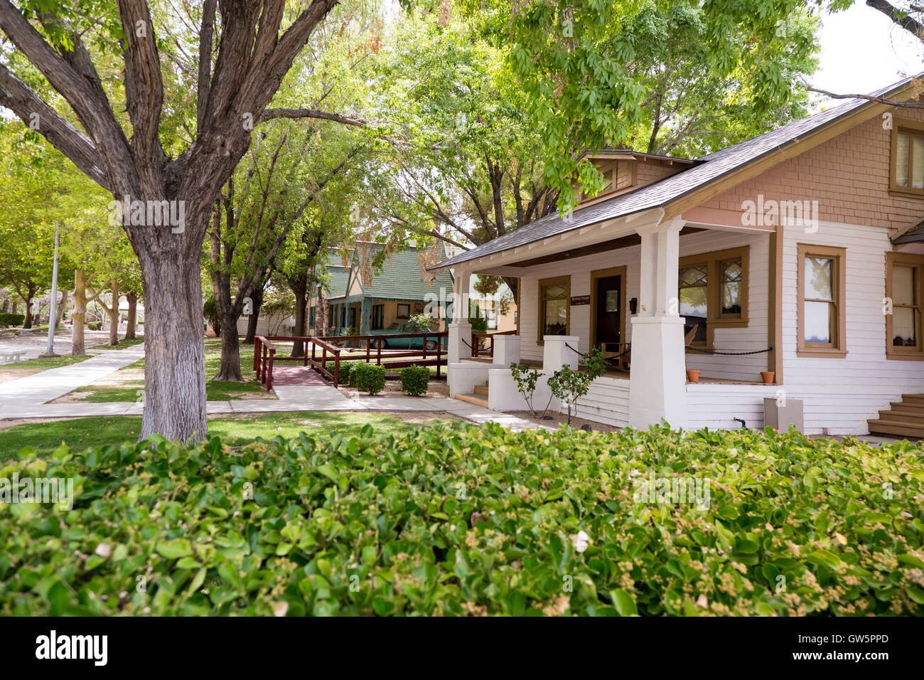 Las Vegas, Nevada - The Heritage Street of Historic Homes at the Clark County Museum. - Stock Image