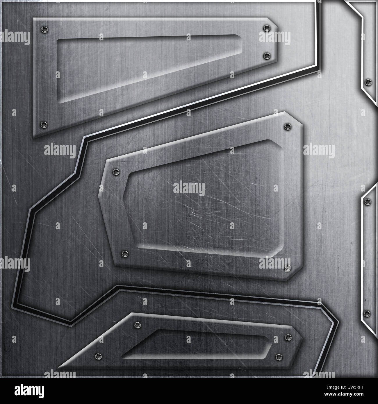 scifi wall. metal background and texture 3d illustration. technology concept. - Stock Image
