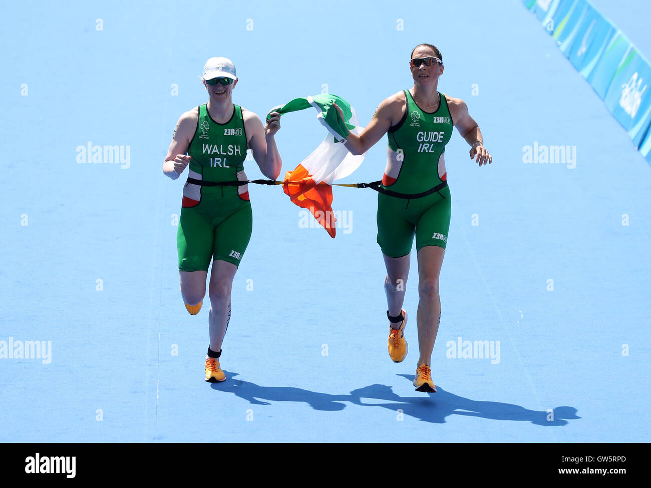 Ireland's Catherine Walsh (left) and guide in action during the Women's PT5  Triathlon during the fourth day of the 2016 Rio Paralympic Games in Rio de  ...