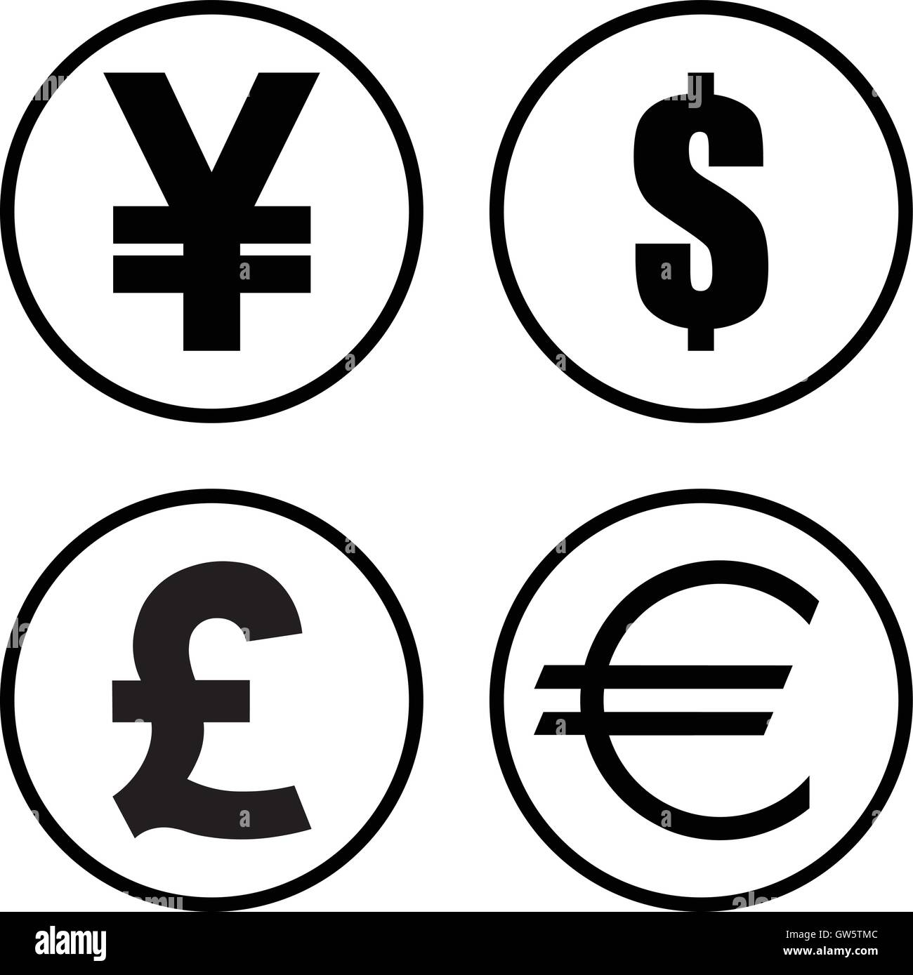 Yen Yuan Dollar Pound And Euro Currency Symbol Set Round Money