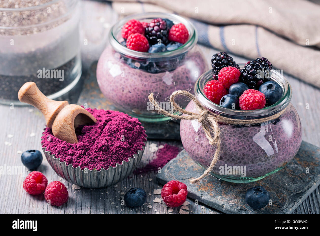 Chia seeds acai pudding with berries - Stock Image