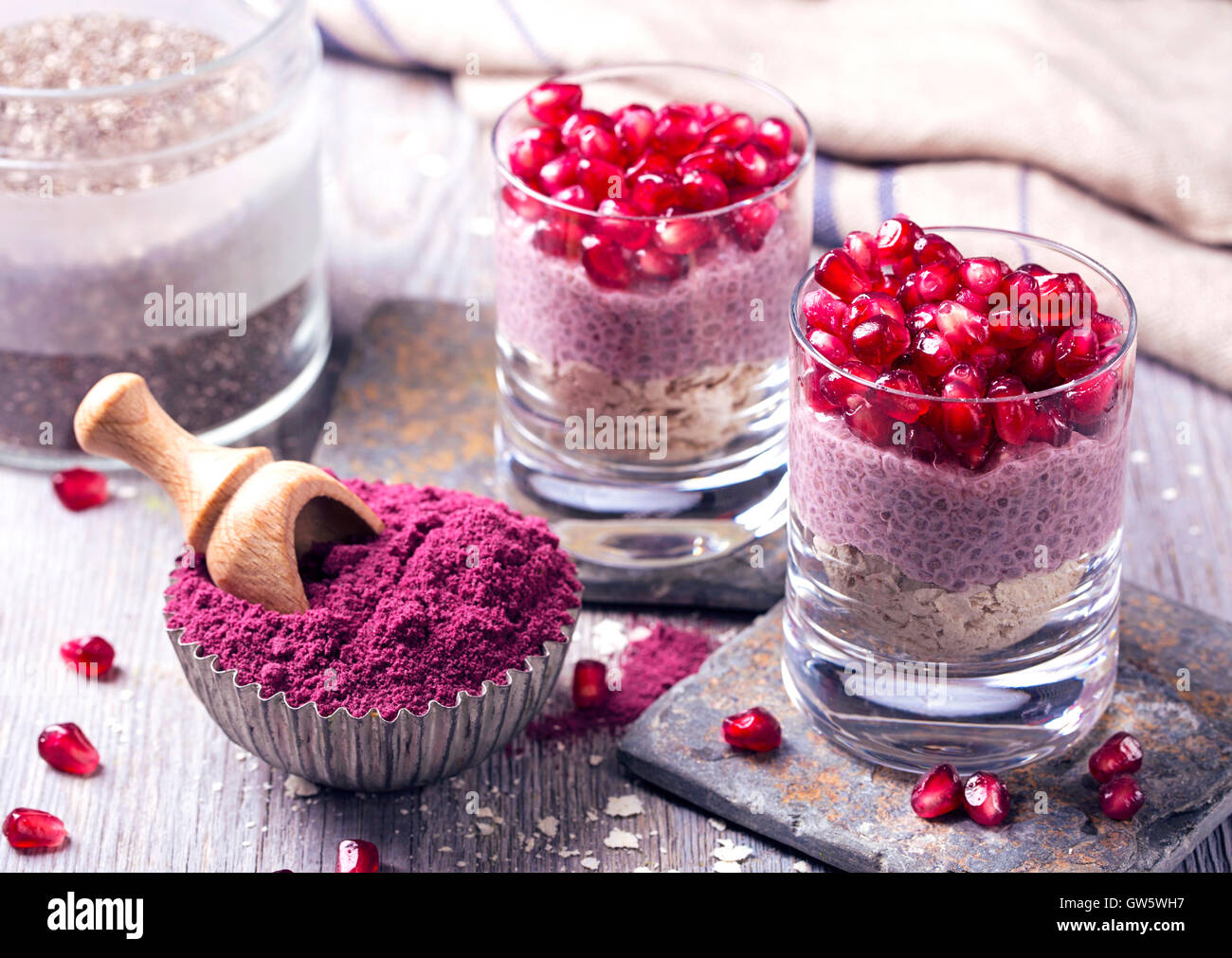 Chia seeds acai pudding with pomegranate - Stock Image