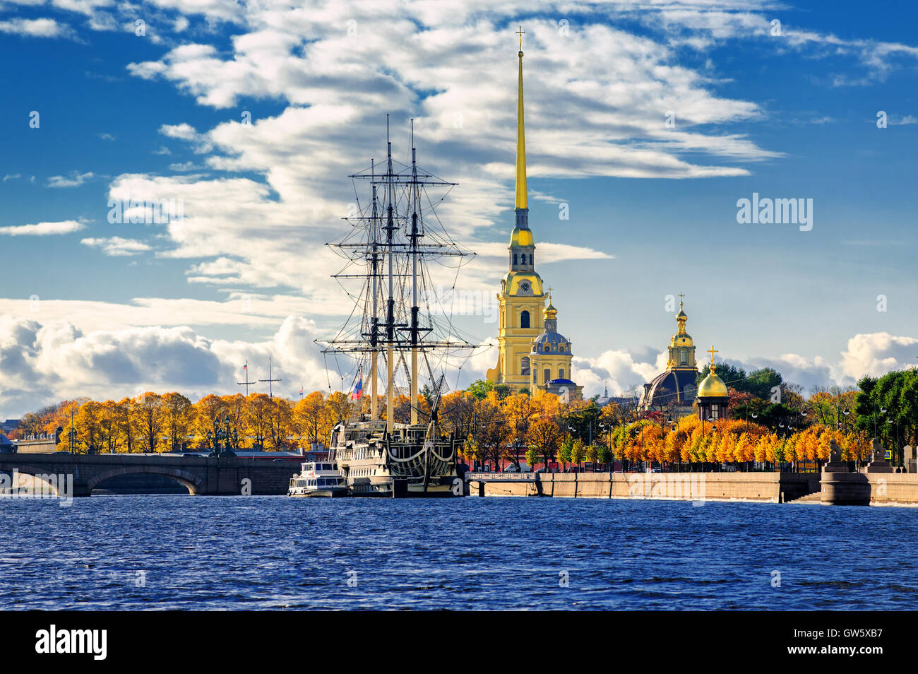 St Petersburg, Russia. Sailing ship anchored by the Peter and Paul Fortress. - Stock Image