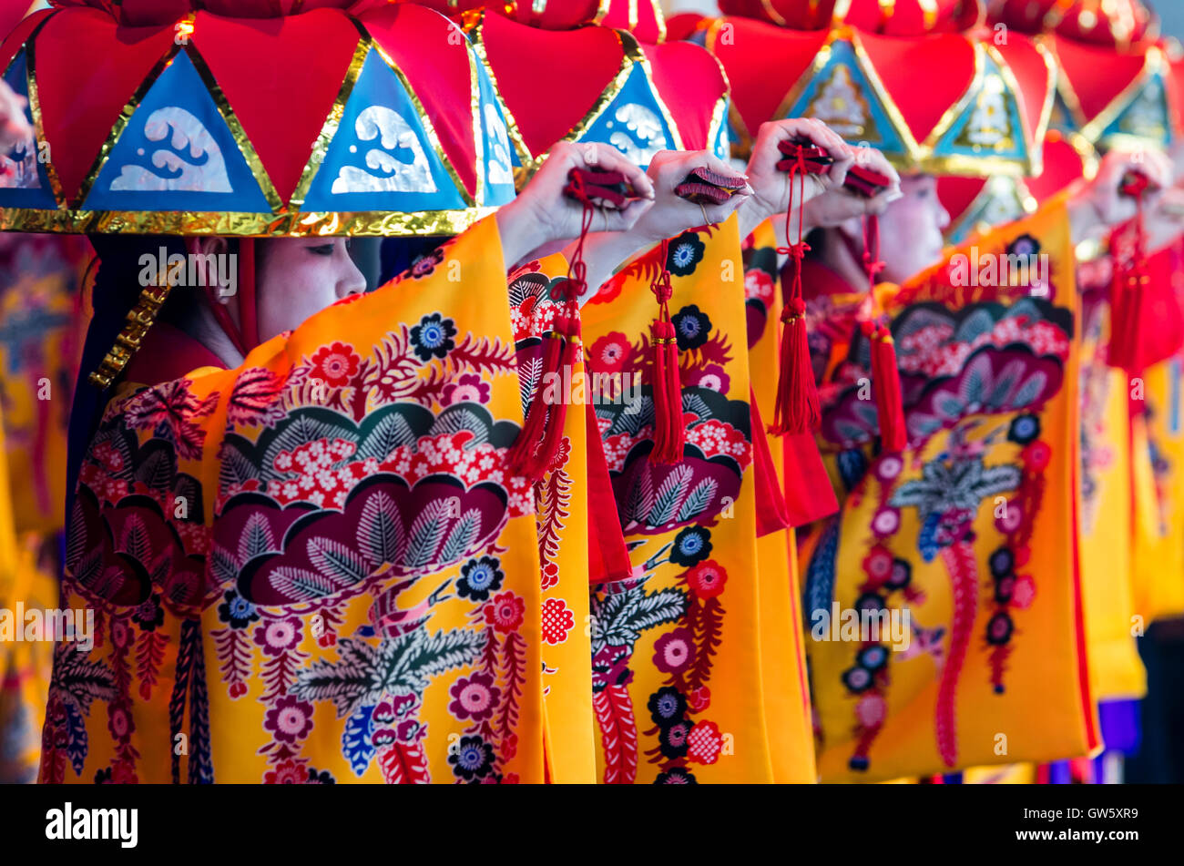 Ryukyu dance. Okinawa traditional dance. - Stock Image