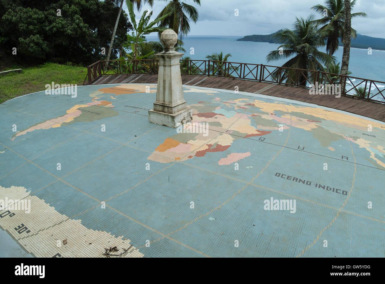 Equator line monument. Ilhéu das Rolas, São Tomé e Príncipe - Stock Image