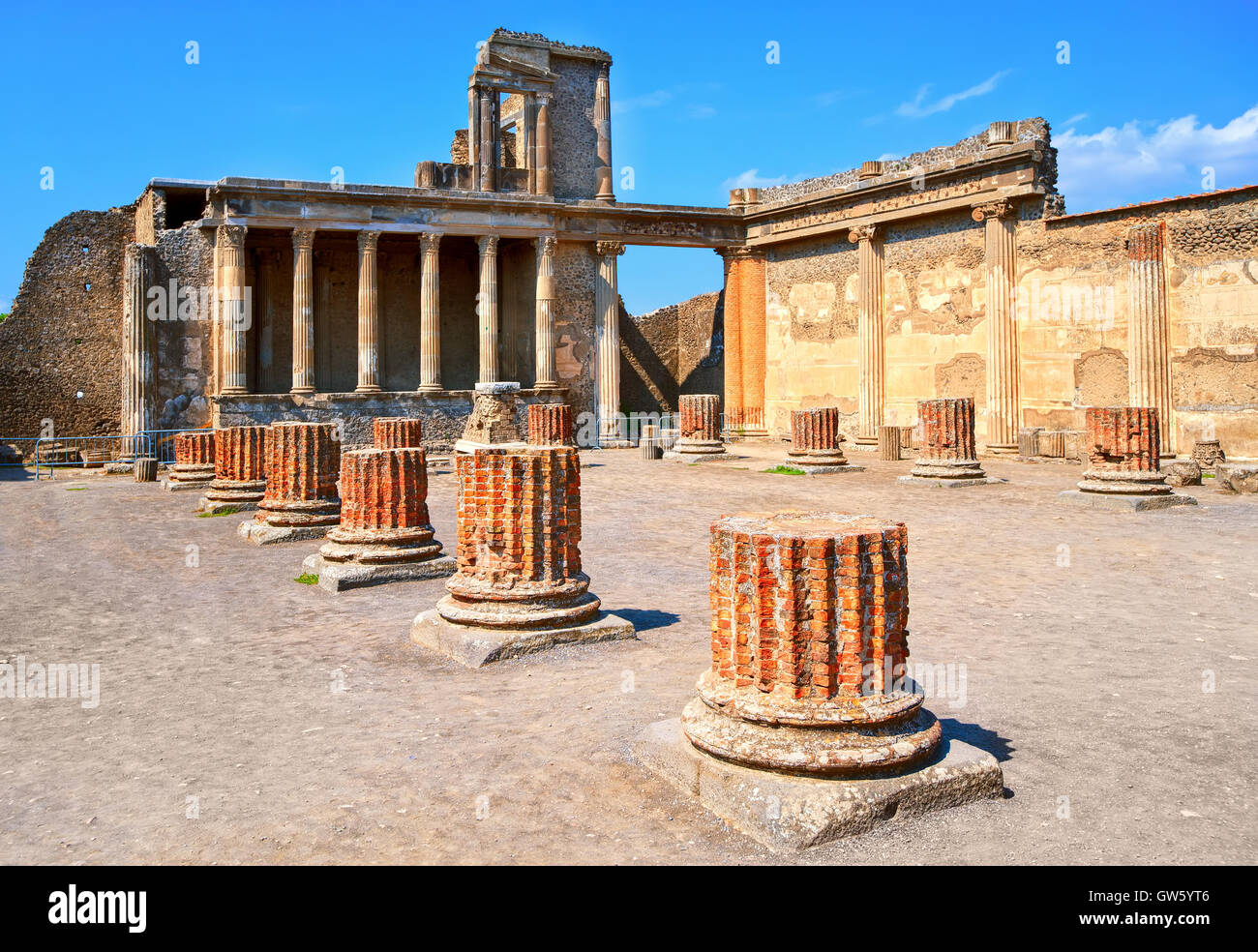 Ruins of antique roman temple in Pompeii, destroyed by eruption of Mount Vesuvius volcano in 79 AD, Naples, Italy - Stock Image