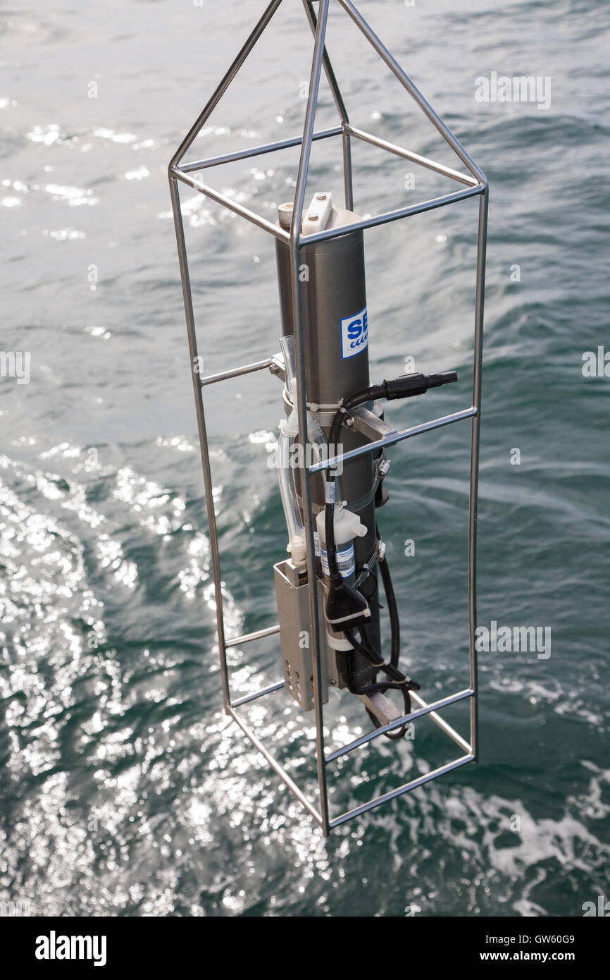CTD. For measurement of conductivity, temperature, depth; dissolved oxygen, ph, etc on ocean water. Oceanographic - Stock Image