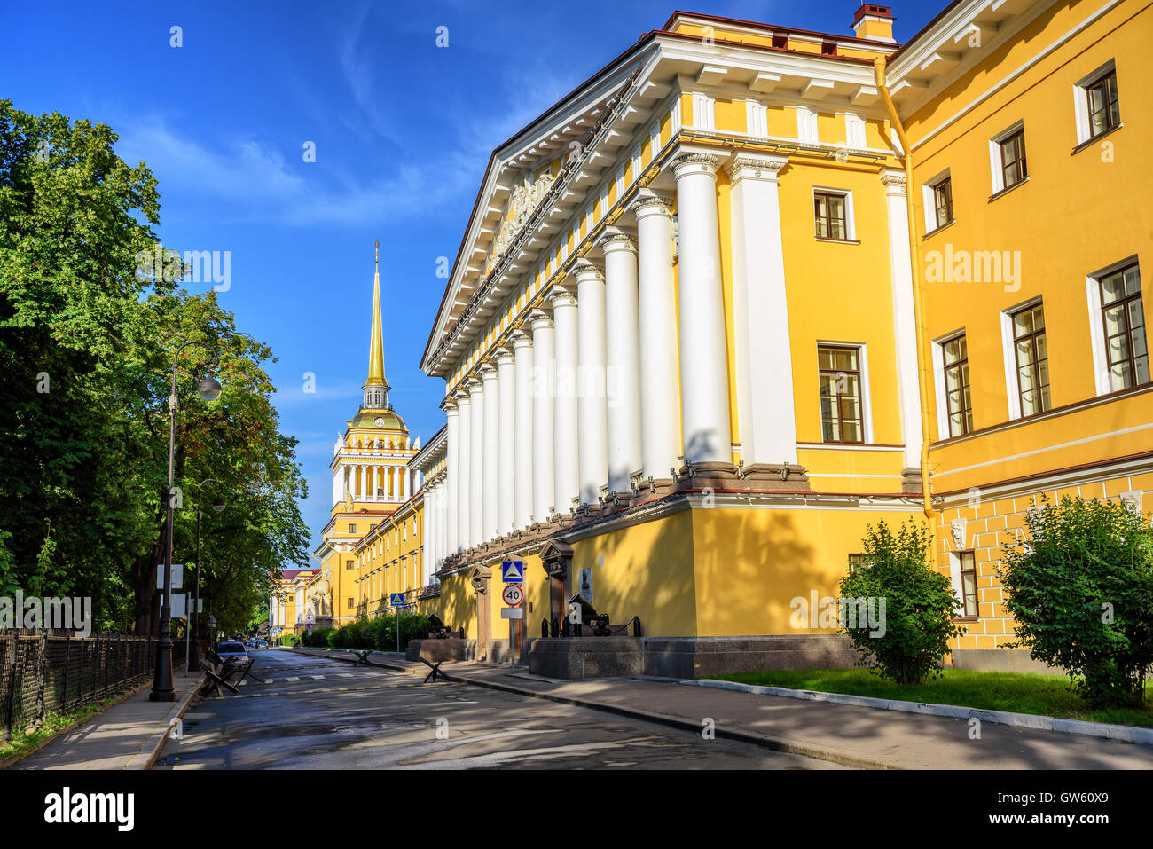 Neoclassical Admiralty Building with white greek columns and golden spire is iconic view in St Petersburg, Russia Stock Photo