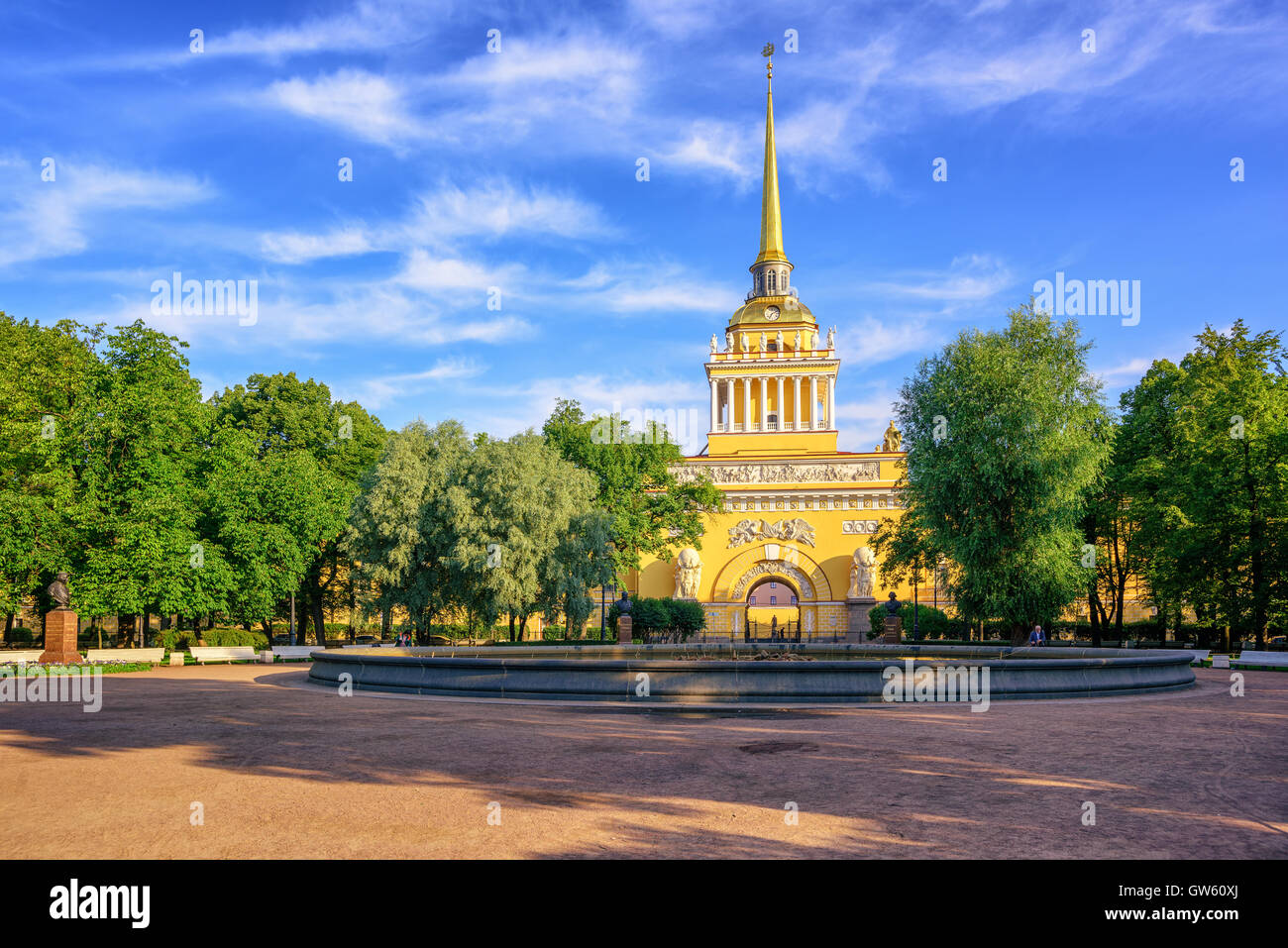 The golden spire of neoclassical Admiralty Building is iconic view in St Petersburg, Russia Stock Photo