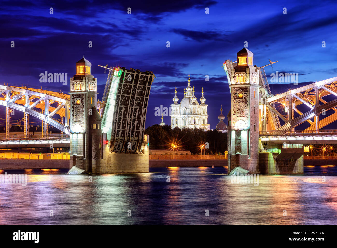 Peter the Great Bridge and Smolny Cathedral at summer white night time, St Petersburg, Russia - Stock Image
