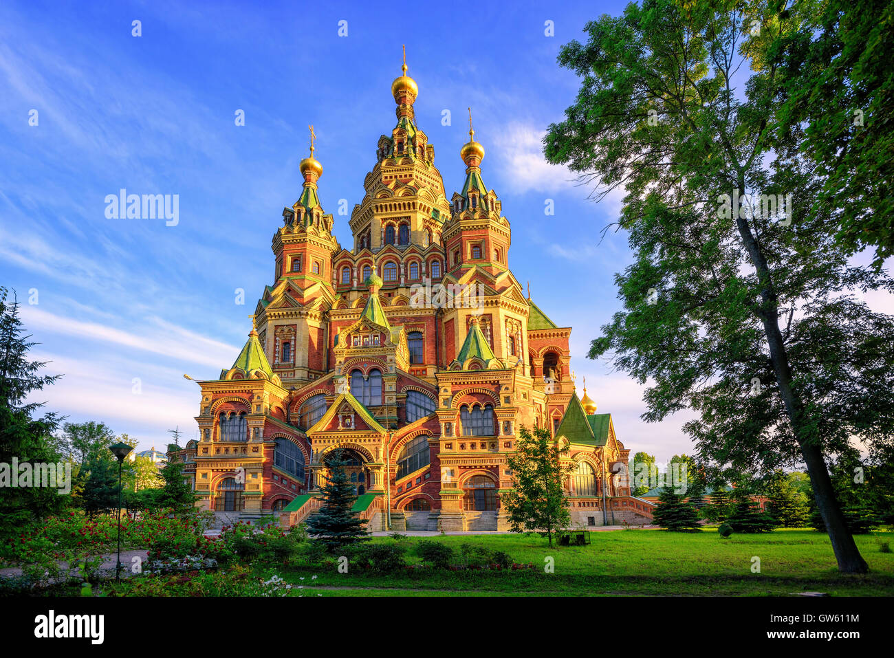 St Peter and Paul cathedral is a traditional russian orthodox church, Peterhof, St Petersburg, Russia - Stock Image