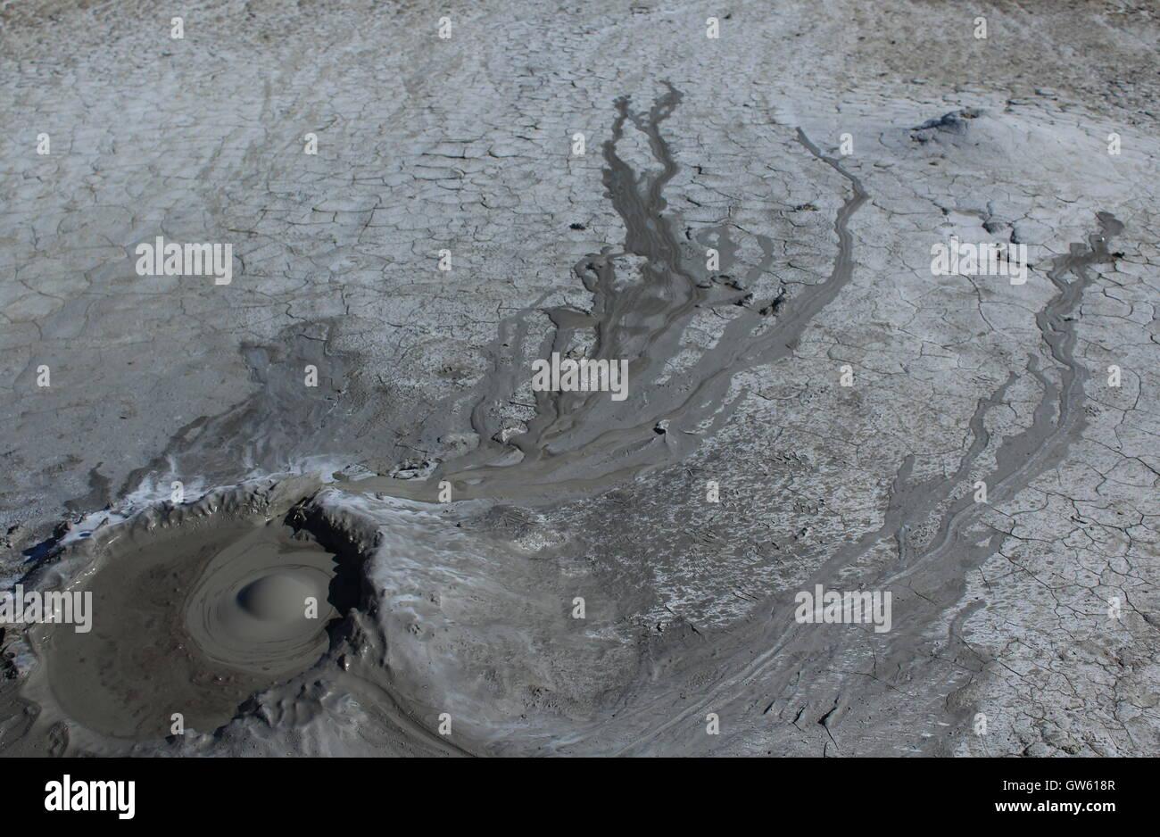 mud volcano erupting - Stock Image