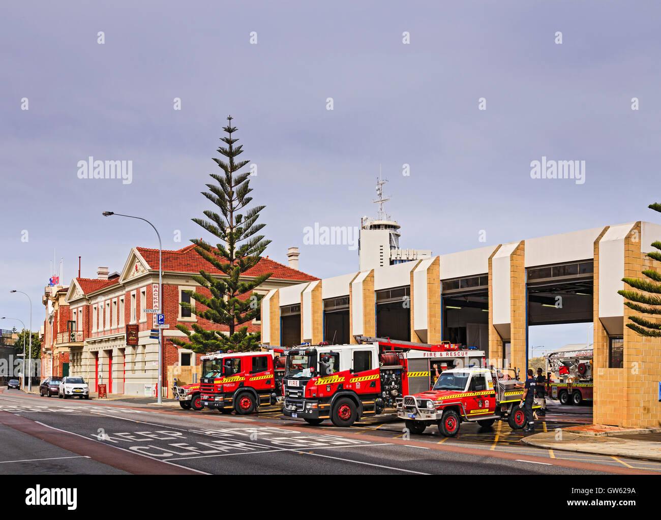 Fremantle, Western Australia, Australia - January 16, 2016: Fremantle fire brigades outside of fire station ready - Stock Image