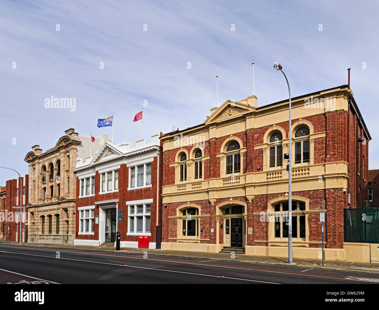 colourful facades of historic buildgings in Fremantle port city in Western Australia. Sattellite to Perth is historic - Stock Image