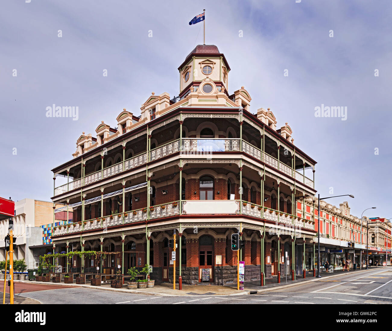 Historic buildings in the centre of Fremantle town near Perth of Western Australia. Corner of town streets with - Stock Image
