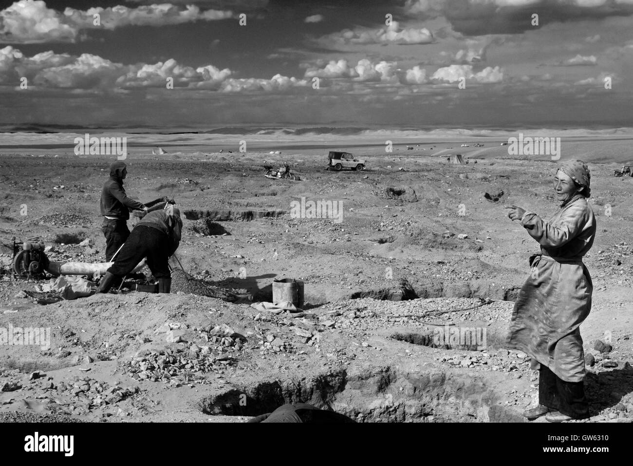 Gold miners in the Altai region - Stock Image
