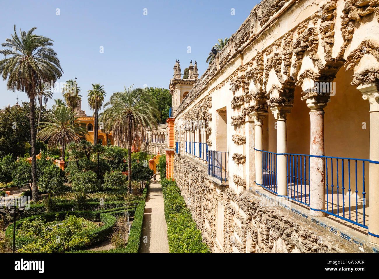 Alcazar, Seville, Italian Design, Grotto Gallery At The Gardens Around The  Royal Moorish Palace, Andalusia, Spain.