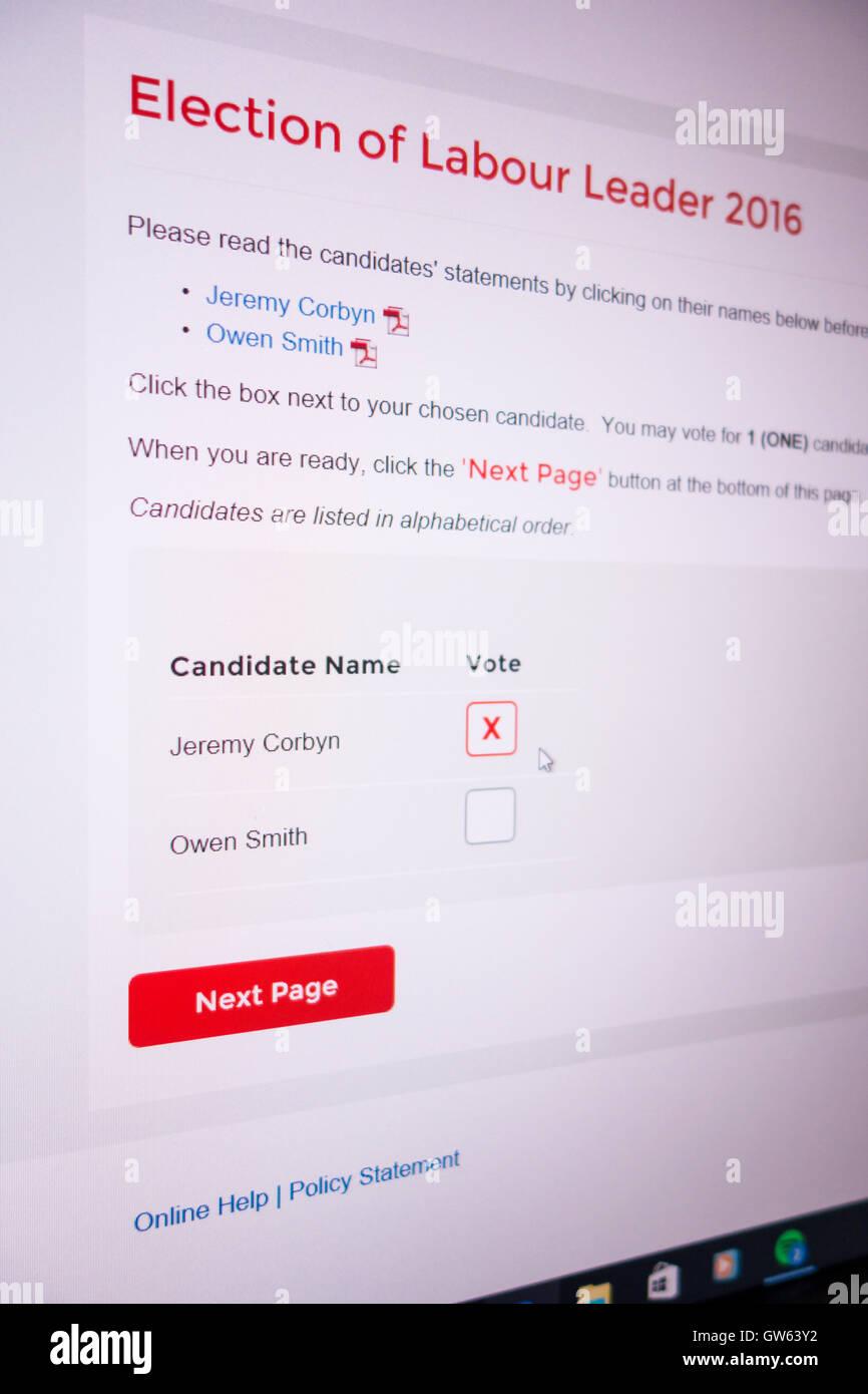 Screen shot of 2016 Labour Party leadership contest ballot Jeremy Corbyn Owen Smith Stock Photo