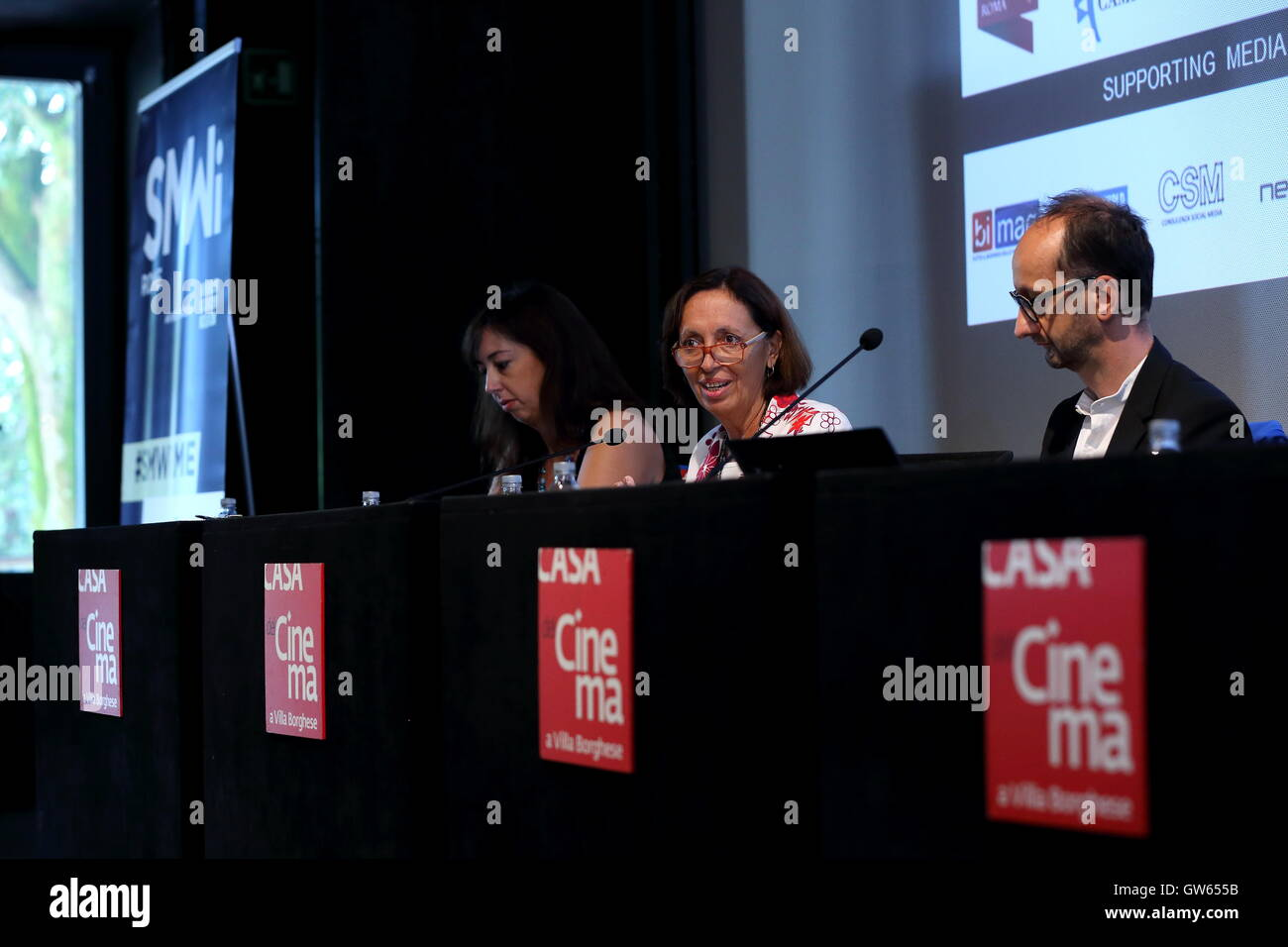 Roma, Italy. 12th Sep, 2016. (C) Flavia Marzano during the Press conference of Social Media Week Rome, which is - Stock Image