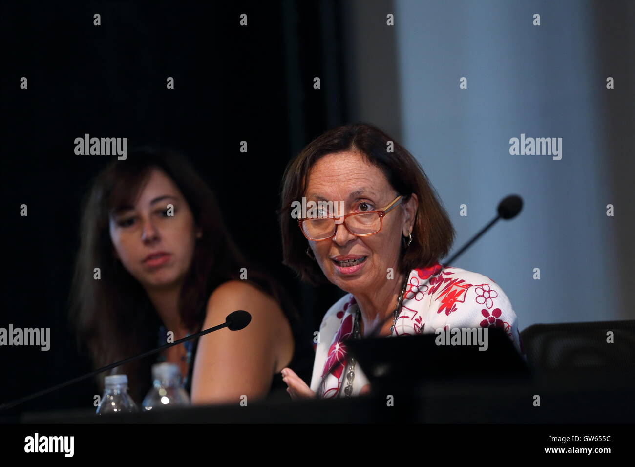 Roma, Italy. 12th Sep, 2016. (R) Flavia Marzano during the Press conference of Social Media Week Rome, which is - Stock Image