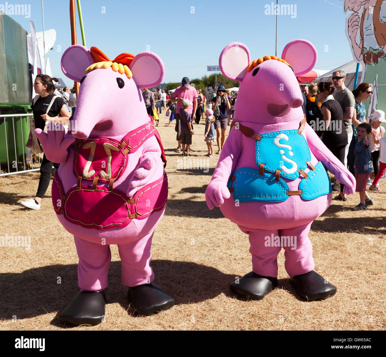 Street Theatre artists dressed as the Clangers, at the entrance to the World of Stories Zone at the OnBlackheath - Stock Image