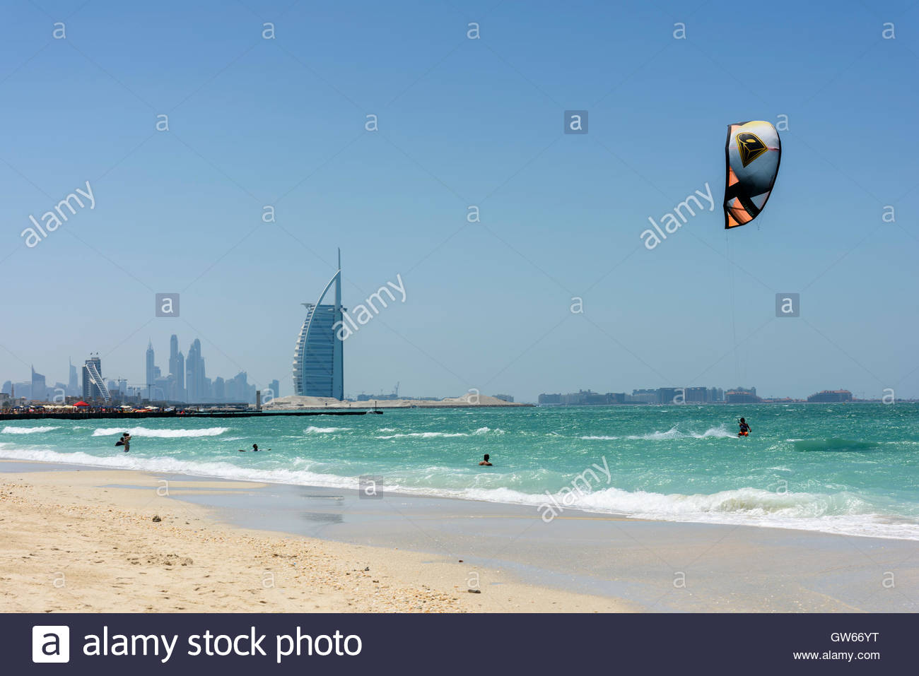 Kite Surf in Dubai with the famous Burj Al Arab hotel in background. No model/property releases. Dubai Emirates, - Stock Image