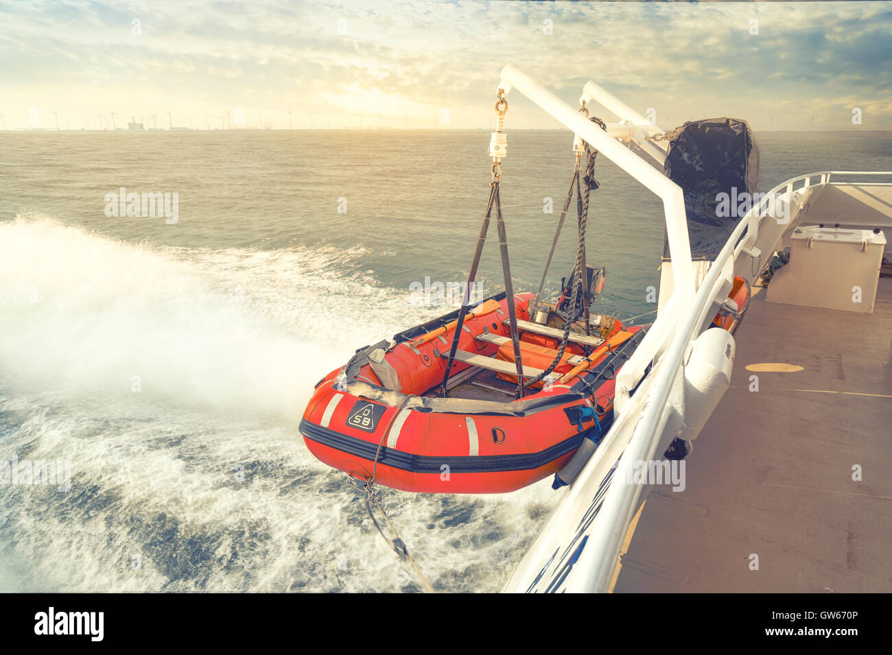 lifeboat at the back of a boat - Stock Image