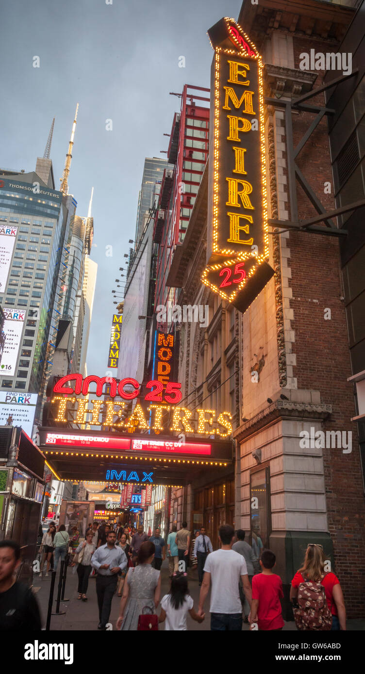 The AMC 25 Theatre in Times Square in New York on Tuesday, September 6, 2016. This summer saw Hollywood release Stock Photo