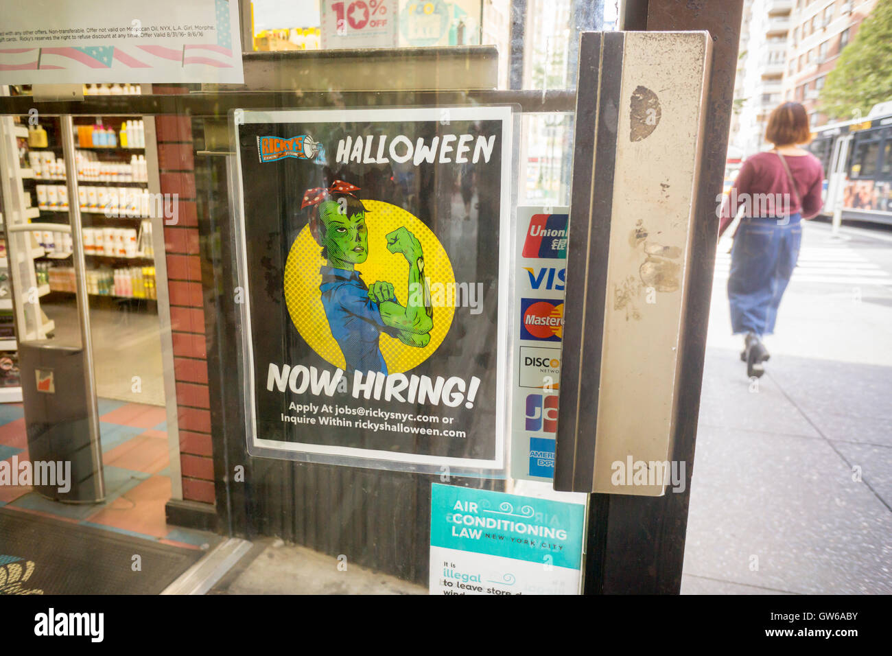 a ricky's cosmetics store in new york advertises that it is hiring