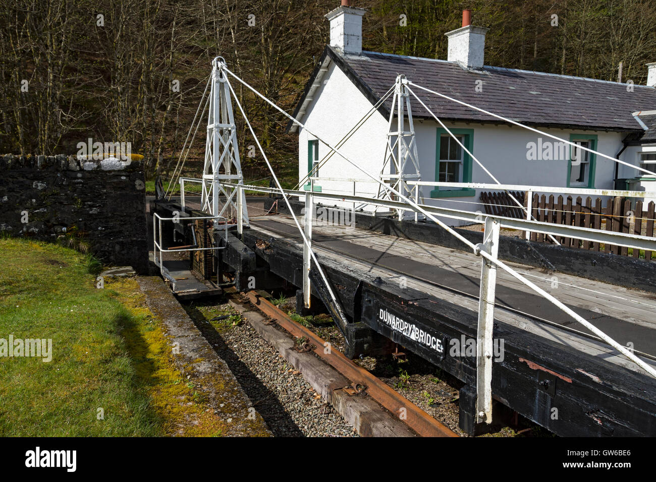The Retractable Bridge at Dunardry, Lock 11 on the Crinan Canal, Argyll and Bute, Scotland, UK - Stock Image