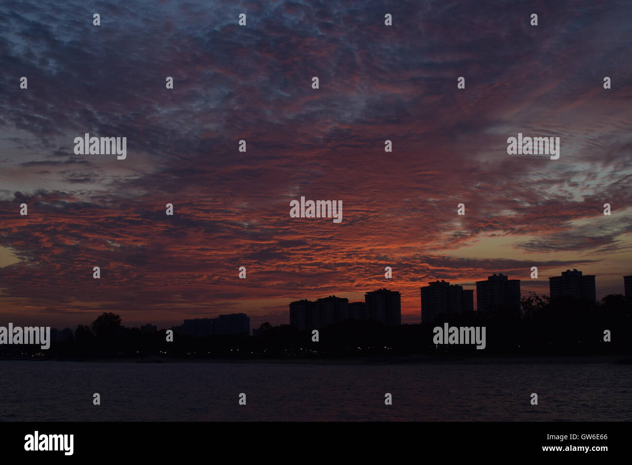 Beautiful sunset with ocean in Singapore - Stock Image