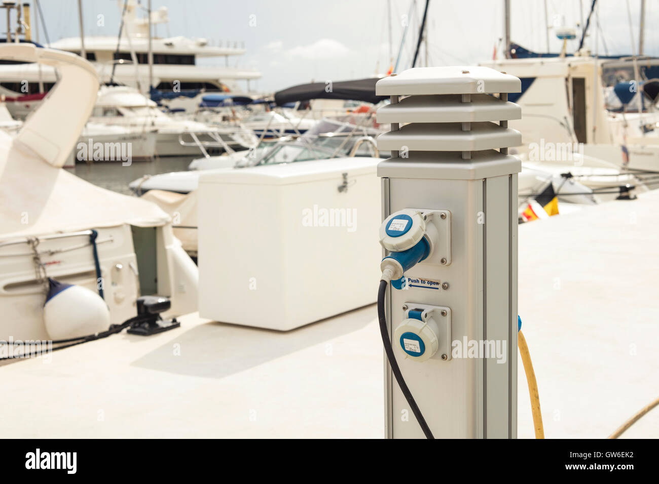 Detail of an auxiliary generator, which supplies energy to ships at harbour - Stock Image