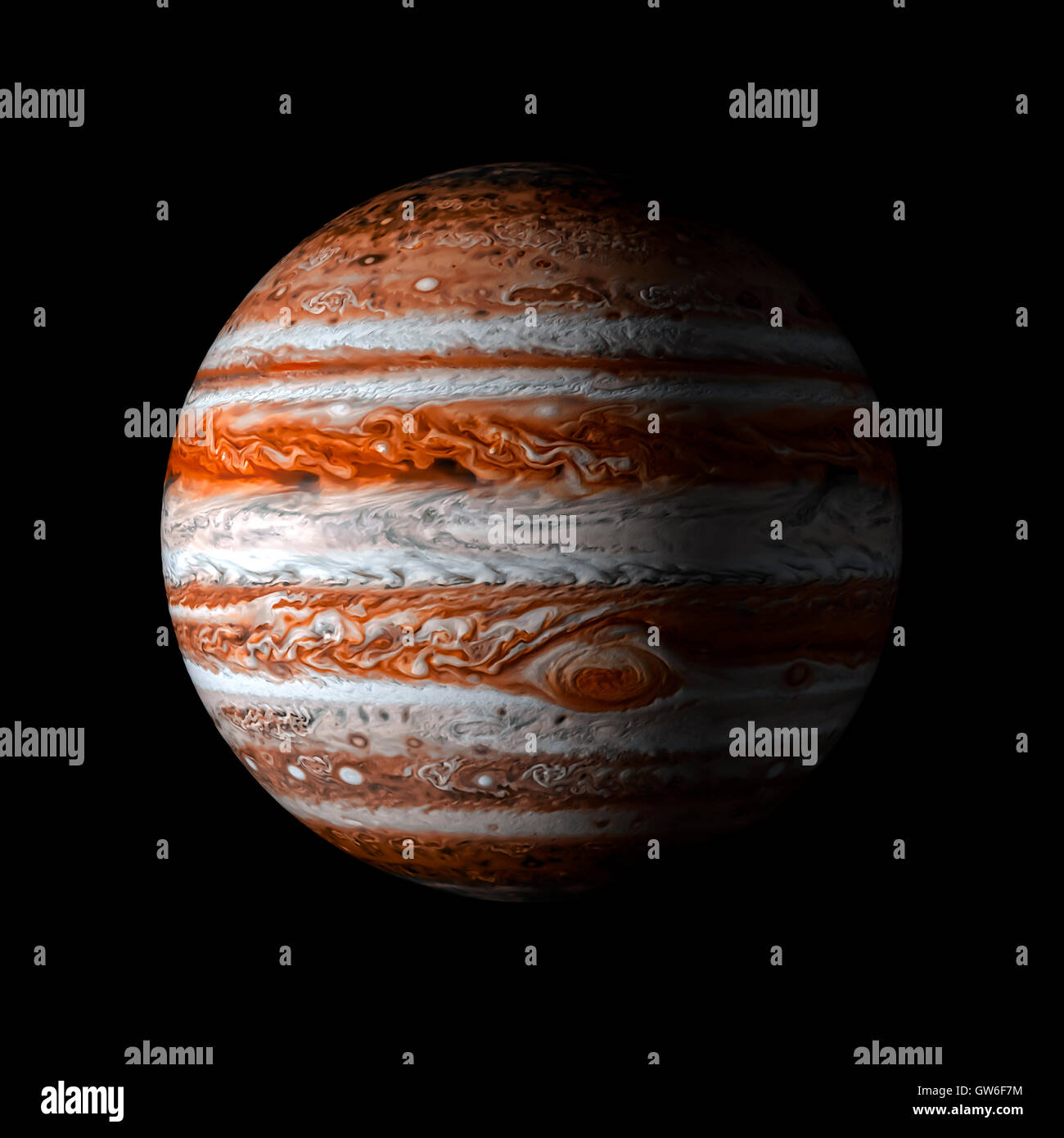 Solar system planet Jupiter on black background 3d rendering. Elements of this image furnished by NASA - Stock Image