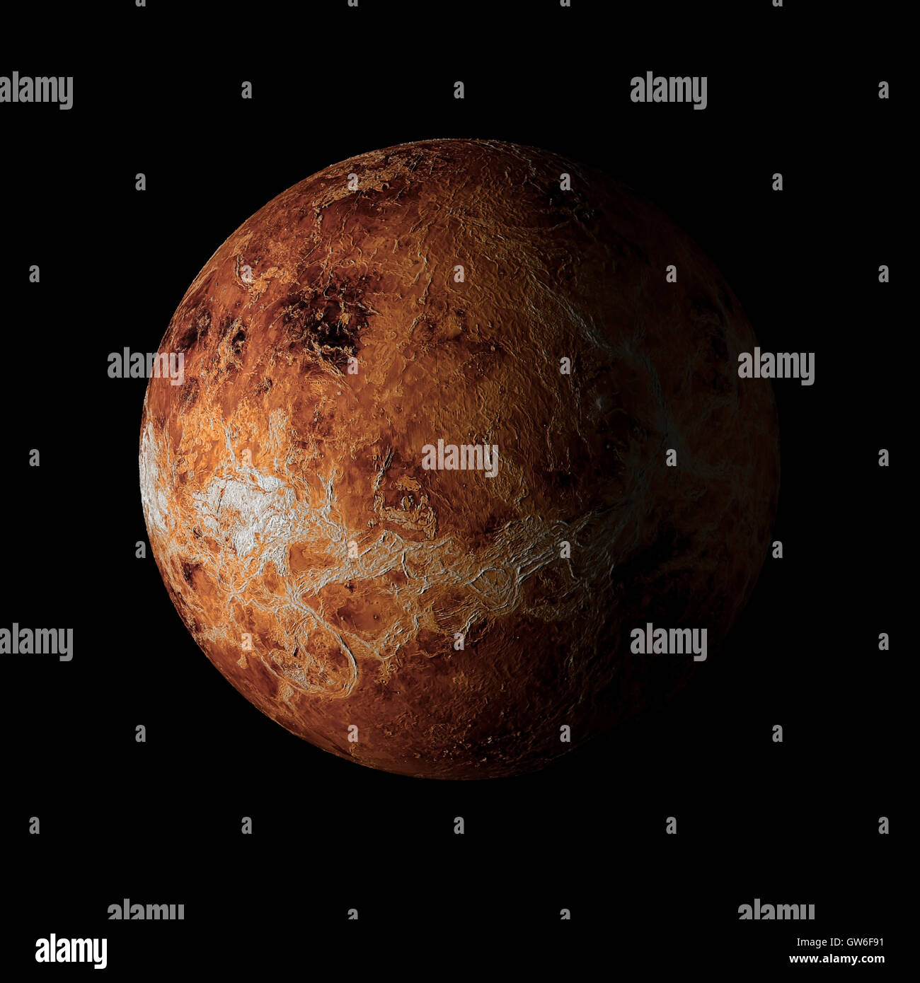 Solar system planet Venus on black background 3d rendering. Elements of this image furnished by NASA - Stock Image