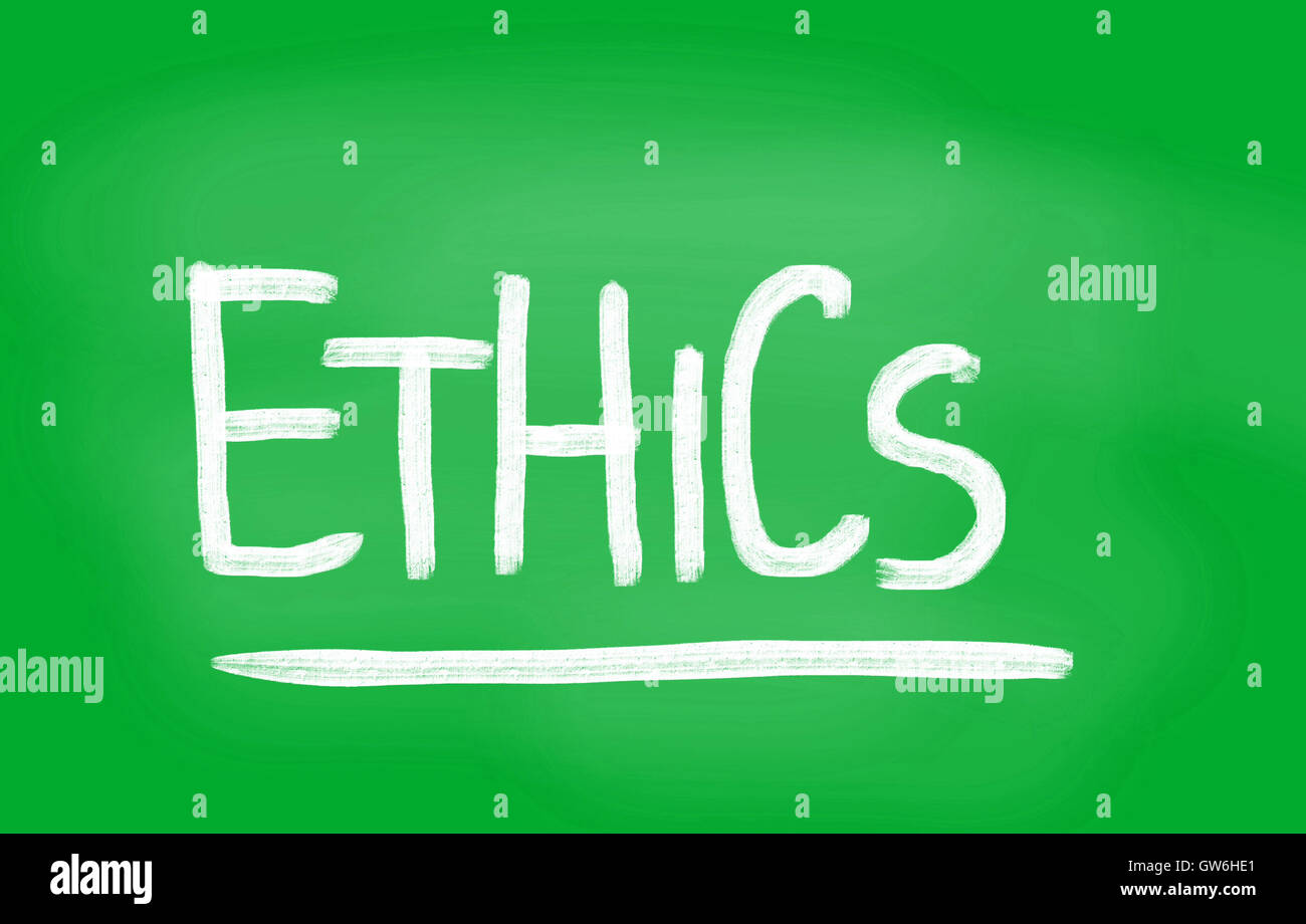 Ethics handwritten with white chalk on a blackboard - Stock Image