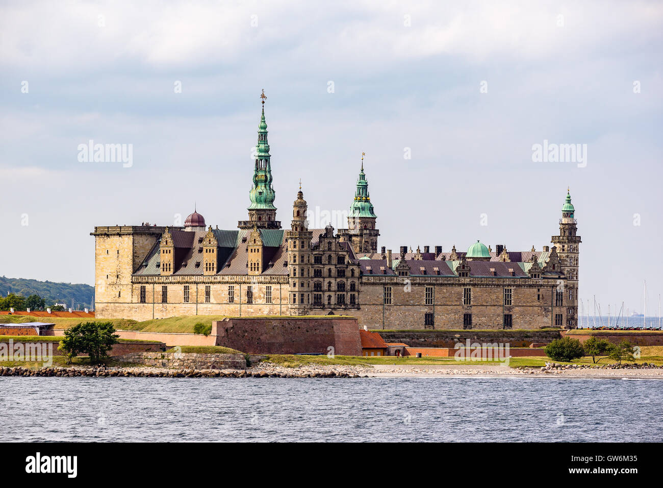 Kronborg castle from the seaside - Stock Image