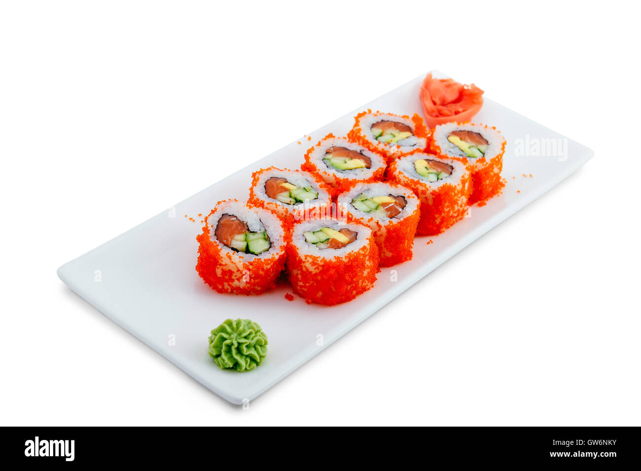 Japanese seafood sushi , roll on a white background - Stock Image