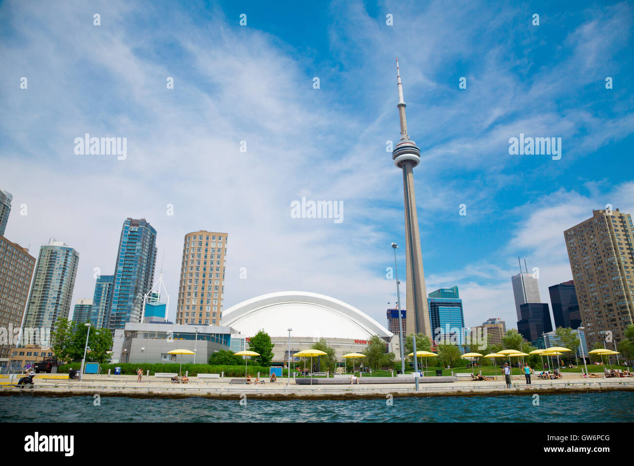 A view of Toronto from the harbor on a sunny day - Stock Image