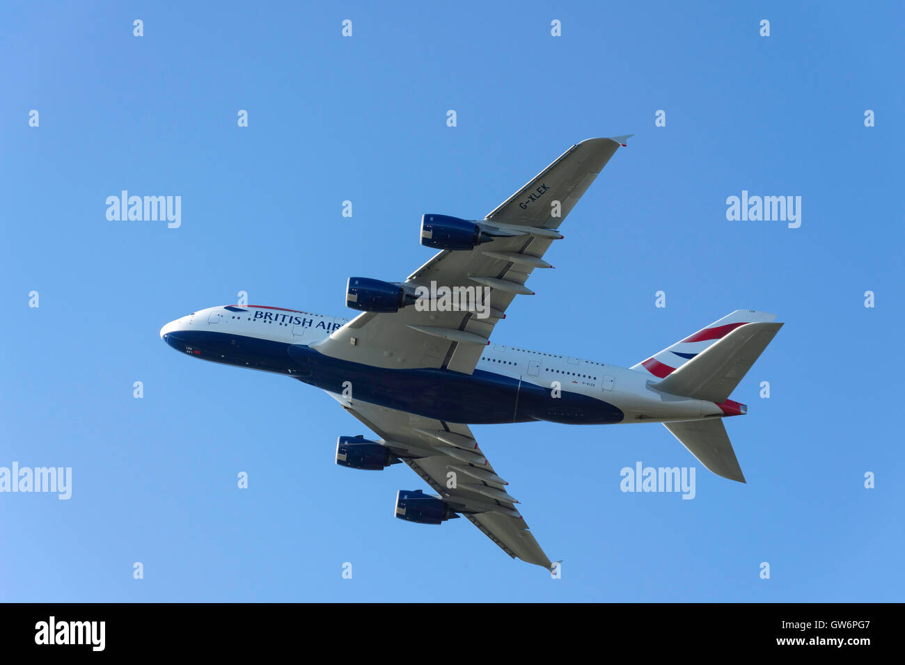 British Airways Airbus A380 aircraft taking off from Heathrow Airport, Greater London, England, United Kingdom - Stock Image