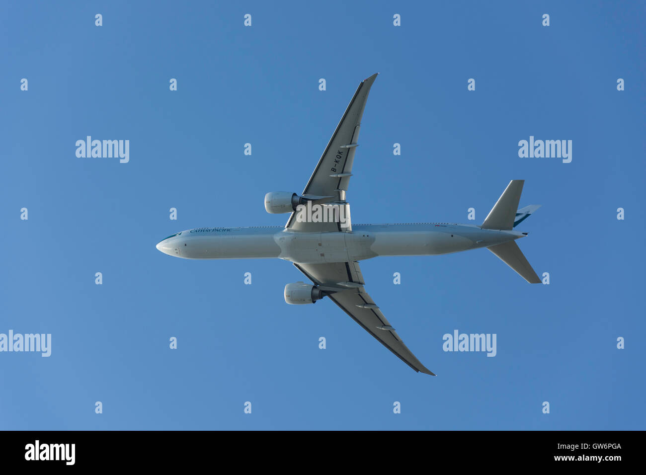 Cathay Pacific Boeing 777-367(ER) aircraft taking off from Heathrow Airport, Greater London, England, United Kingdom - Stock Image