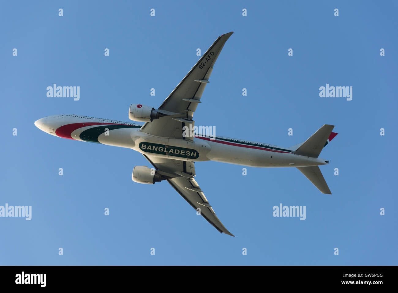 Biman Bangladesh Airlines Boeing 777-3E9(ER) taking off from Heathrow Airport, Greater London, England, United Kingdom - Stock Image