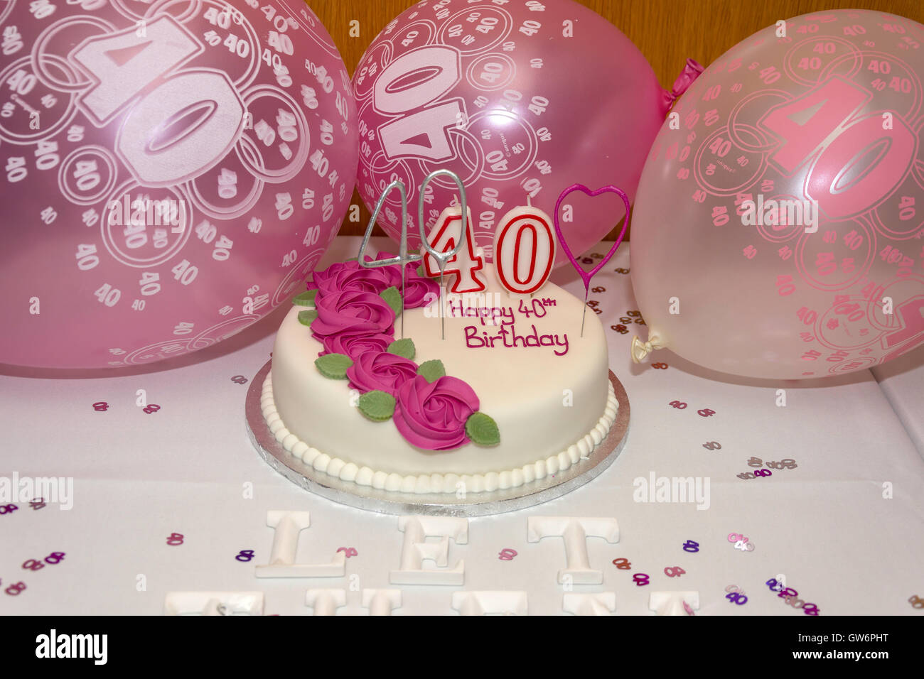 Happy 40th Birthday Party Cake And Balloons Flackwell Heath Buckinghamshire England United Kingdom