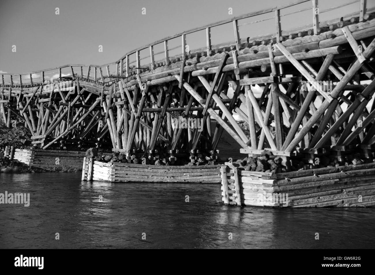 Wooden bridge over the Chuluut River, Mongolia - Stock Image